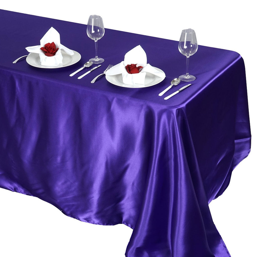 "90x132"" PURPLE Wholesale SATIN Banquet Linen Wedding Party Restaurant Tablecloth"