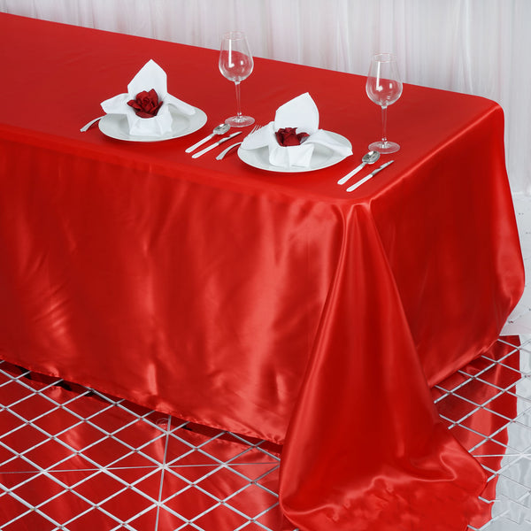 "90""x132"" Red Satin Rectangular Tablecloth"