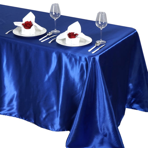"90x132"" ROYAL BLUE Wholesale SATIN Banquet Linen Wedding Party Restaurant Tablecloth"