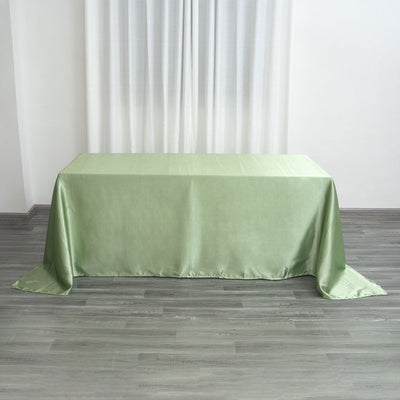 "90x132"" Sage Green Satin Rectangular Tablecloth"