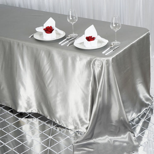 "90x132"" SILVER Wholesale SATIN Banquet Linen Wedding Party Restaurant Tablecloth"
