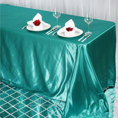 "90x132"" Turquoise Satin Rectangular Tablecloth"