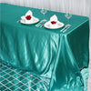 90x132 Turquoise Satin Rectangular Tablecloth