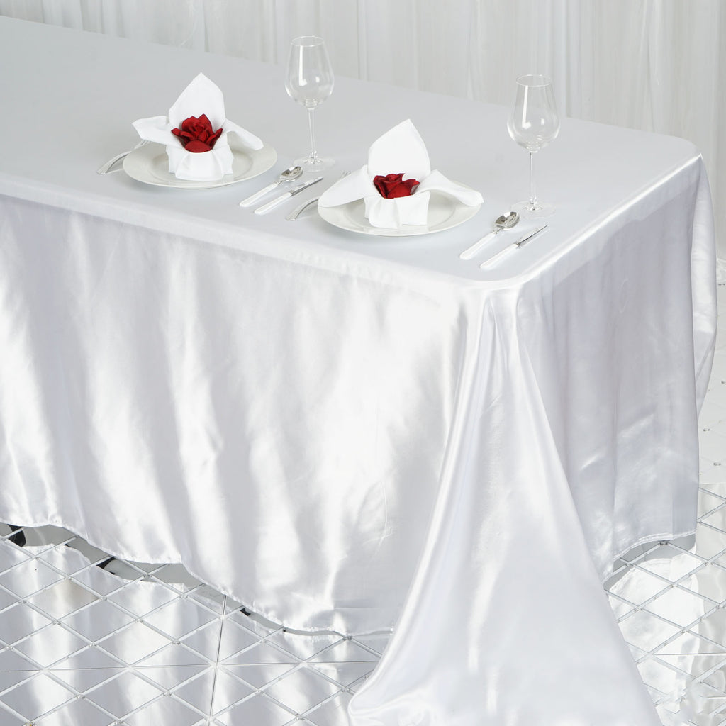 90x132 Quot Satin Tablecloth White Efavormart