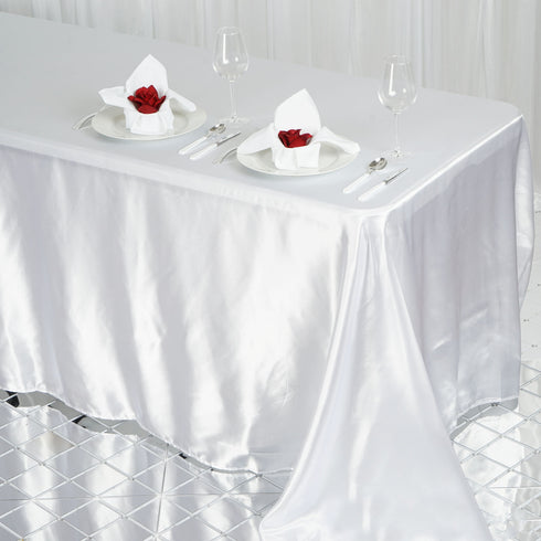 "90x132"" White Satin Rectangular Tablecloth"