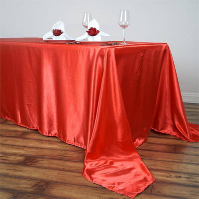 "90x156"" CORAL Wholesale SATIN Banquet Linen Wedding Party Restaurant Tablecloth"