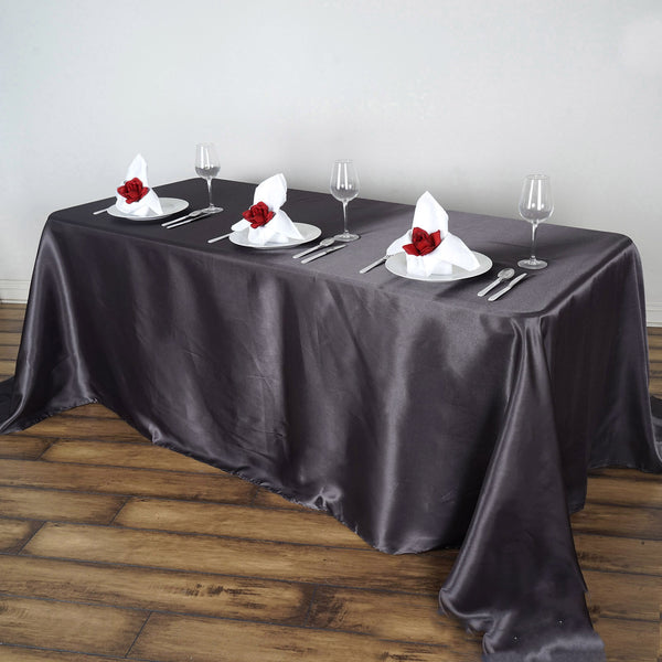 "90""x156"" Charcoal Gray Satin Rectangular Tablecloth"