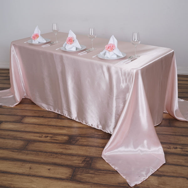 "90""x156"" Satin Rectangular Tablecloth - Rose Gold 