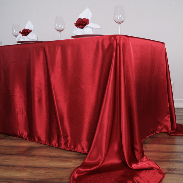 "90""x156"" Wine Satin Rectangular Tablecloth"