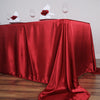 90x156 Wine Satin Rectangular Tablecloth