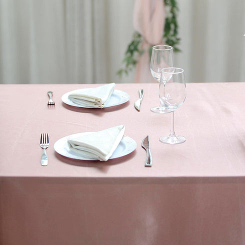 "90x156"" Dusty Rose Satin Rectangular Tablecloth"
