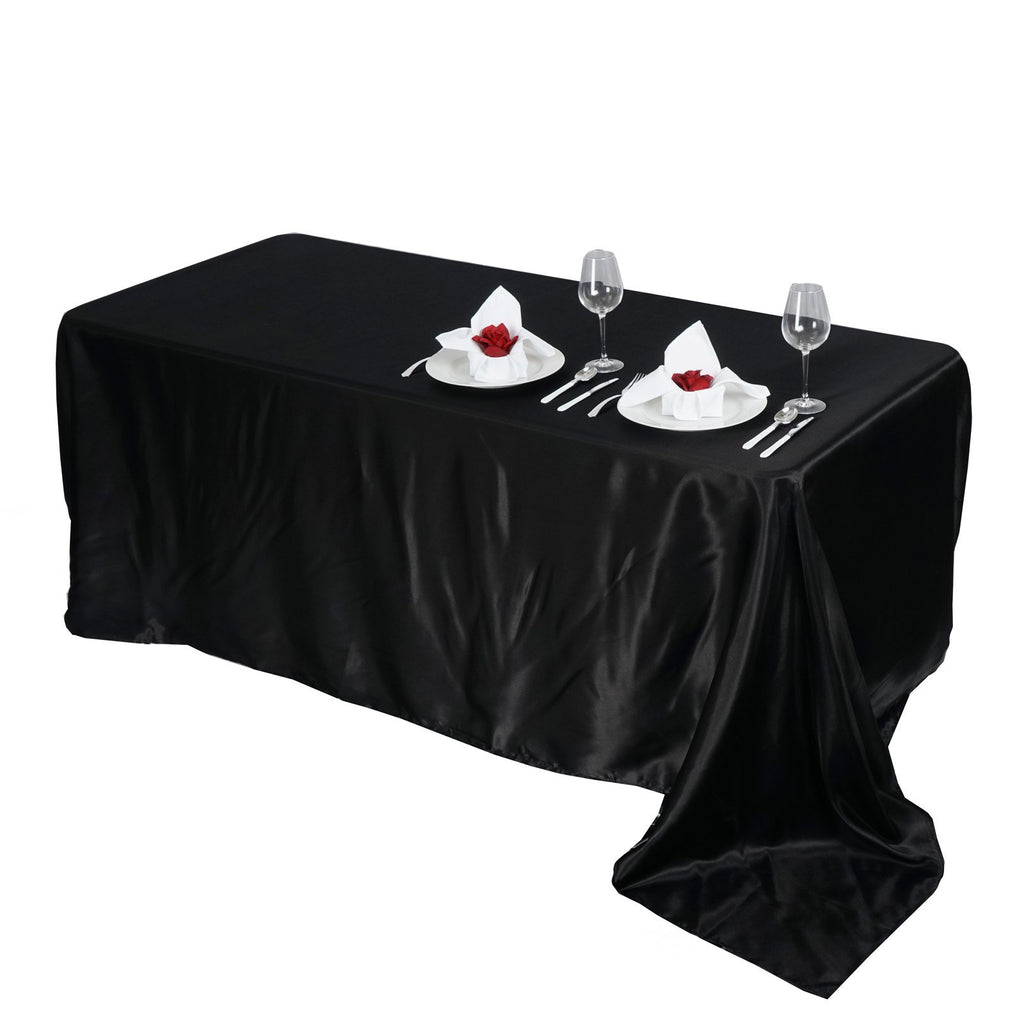 "90x156"" BLACK Wholesale SATIN Banquet Linen Wedding Party Restaurant Tablecloth"