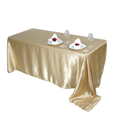"90x156"" CHAMPAGNE Wholesale SATIN Banquet Linen Wedding Party Restaurant Tablecloth"