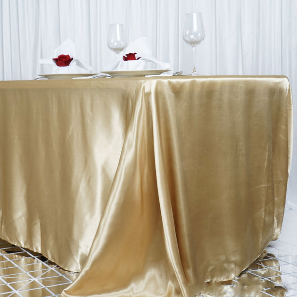 "90""x156"" Champagne Satin Rectangular Tablecloth"
