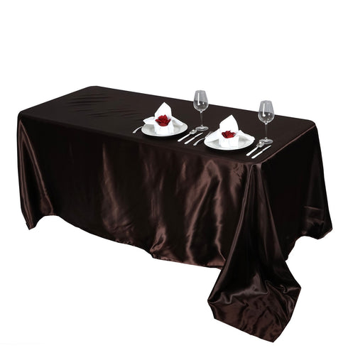 "90x156"" CHOCOLATE Wholesale SATIN Banquet Linen Wedding Party Restaurant Tablecloth"