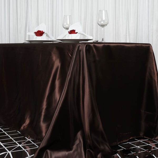 "90""x156"" Chocolate Satin Rectangular Tablecloth"