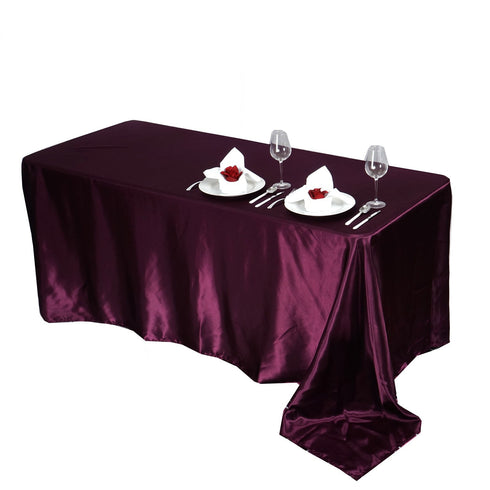 "90x156"" EGGPLANT Wholesale SATIN Banquet Linen Wedding Party Restaurant Tablecloth"