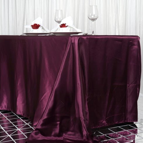 "90x156"" Eggplant Satin Rectangular Tablecloth"