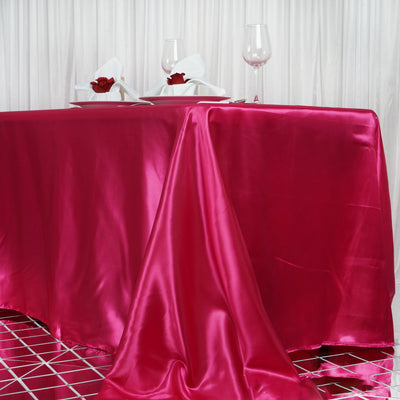 "90x156"" Fushia Satin Rectangular Tablecloth"