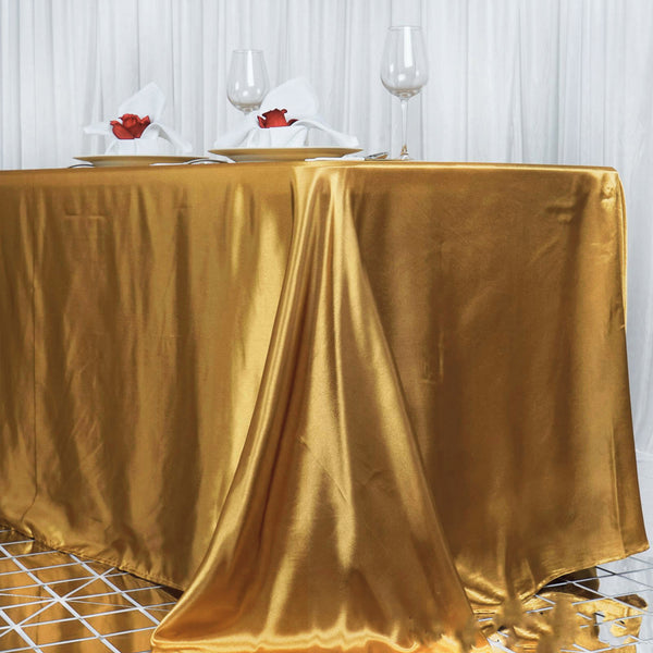 "90""x156"" Gold Satin Rectangular Tablecloth"
