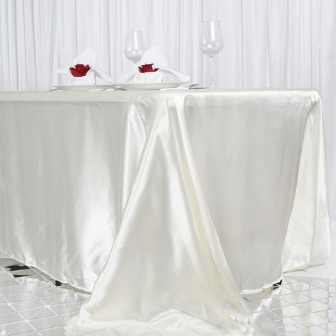 "90x156"" Ivory Satin Rectangular Tablecloth"