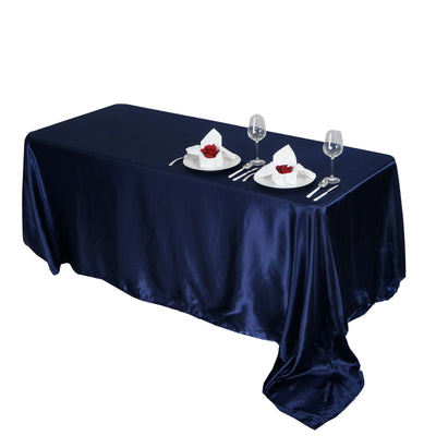 "90x156"" NAVY Wholesale SATIN Banquet Linen Wedding Party Restaurant Tablecloth"