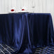 "90x156"" Navy Blue Satin Rectangular Tablecloth"