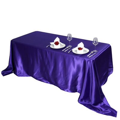 "90x156"" PURPLE Wholesale SATIN Banquet Linen Wedding Party Restaurant Tablecloth"