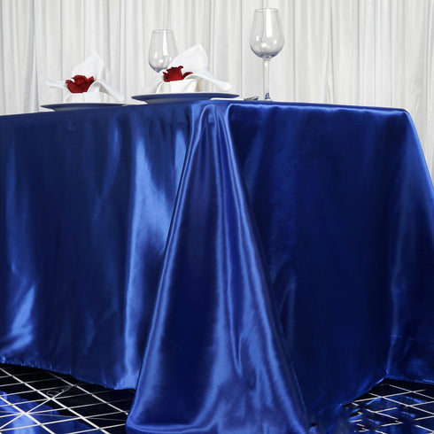 "90x156"" ROYAL BLUE Wholesale SATIN Banquet Linen Wedding Party Restaurant Tablecloth"