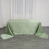 "90x156"" Sage Green Satin Rectangular Tablecloth"