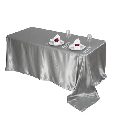 "90x156"" SILVER Wholesale SATIN Banquet Linen Wedding Party Restaurant Tablecloth"