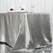 "90x156"" Silver Satin Rectangular Tablecloth"