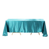 "90""x156"" Teal Satin Rectangular Tablecloth"