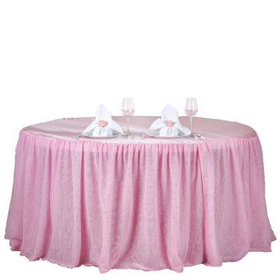 "120"" Pink 3 Layer Tulle Tutu Satin Pleated Round Table Skirt"