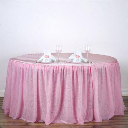 "120"" Round Pink 3 Layer - Skirted Tablecloth - Fitted Tulle Tutu Satin Pleated Table Skirt"