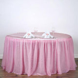 "120"" 3 Layer Tulle Tutu Satin Pleated Round Table Skirt - Pink"