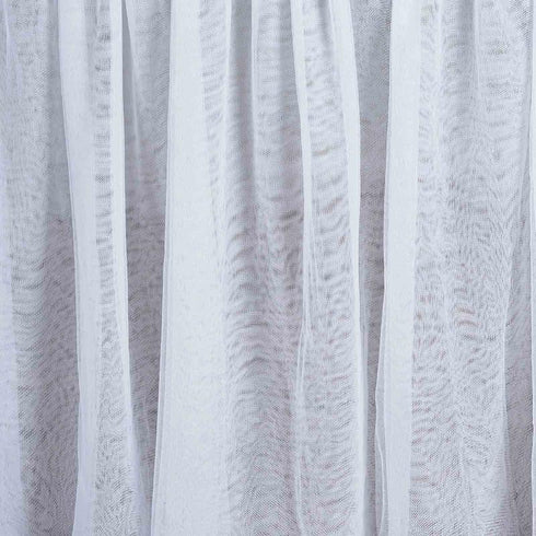 "120"" Round White 3 Layer - Skirted Tablecloth - Fitted Tulle Tutu Satin Pleated Table Skirt"