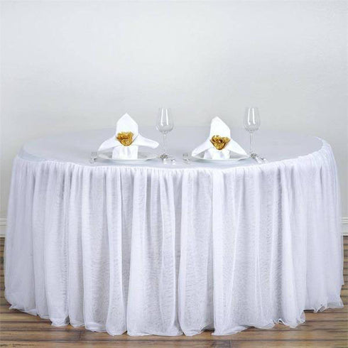 120 Quot White 3 Layer Tulle Tutu Satin Pleated Round Table