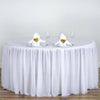 "120"" 3 Layer Tulle Tutu Satin Pleated Round Table Skirt - White"
