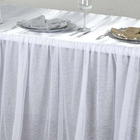 6FT Satin With 3 Layer Tulle Wholesale Wedding Banquet Event Rectangular Table Top - White