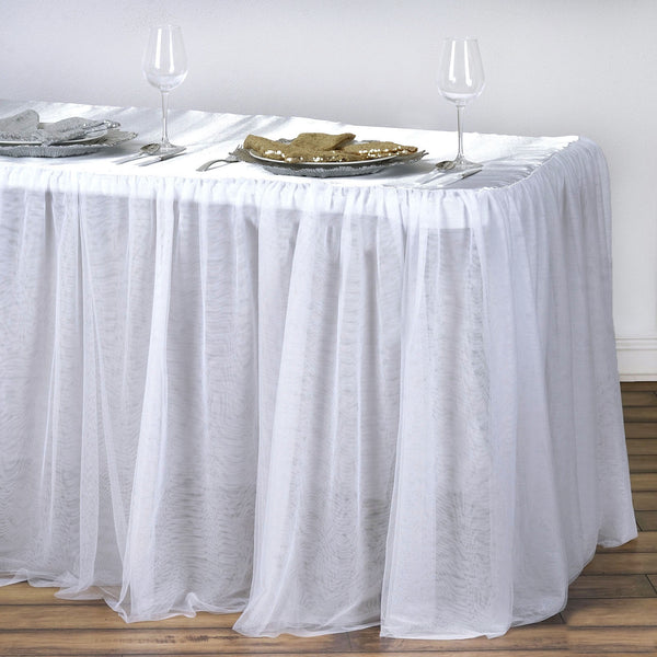 8FT Rectangular White 3 Layer - Skirted Tablecloth - Fitted Tulle Tutu Satin Pleated Table Skirt