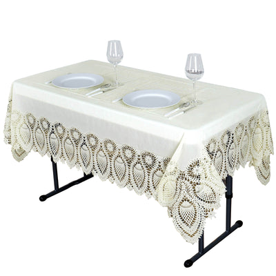 "54"" x 72"" Eco-friendly Ivory Lace Vinyl Tablecloth Cover"