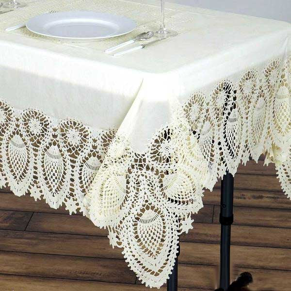 "54""x72"" Eco Friendly Ivory 0 6mil Thick Disposable Waterproof Lace"