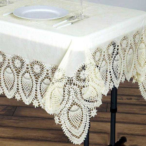 "54x72"" Ivory 0.6 mil Thick Crochet Lace Vinyl Eco-Friendly Tablecloth"