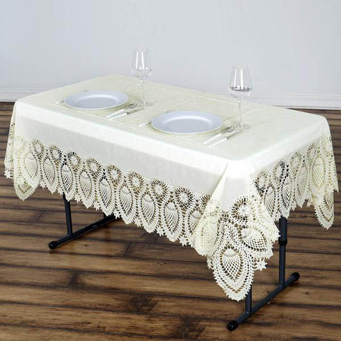 "54""x72"" Eco-friendly Lace Vinyl Tablecloth Cover - Ivory"