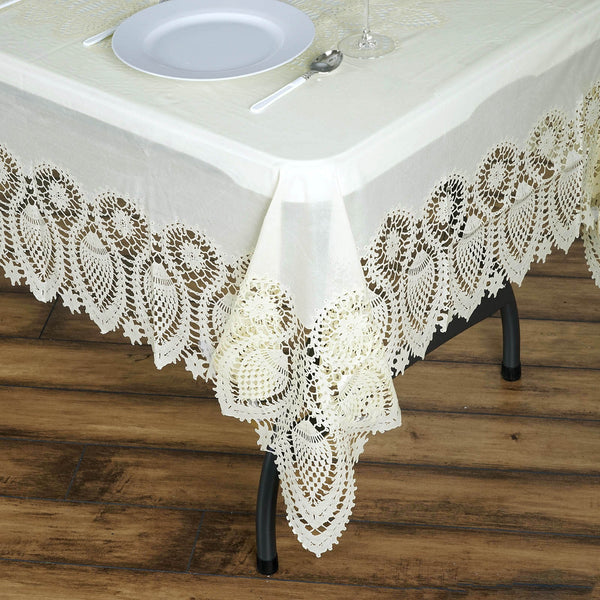 "60"" x 108"" Ivory 10 Mil Thick Lace Vinyl Waterproof Tablecloth PVC Rectangle Disposable Tablecloth"