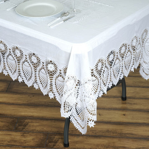 "60x108"" White 0.6 mil Thick Crochet Lace Vinyl Eco-Friendly Tablecloth"