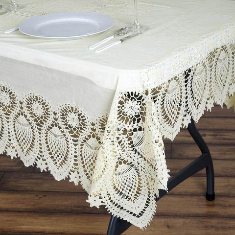 "60x90"" Ivory 0.6 mil Thick Lace Vinyl Eco-Friendly Tablecloth Protector Cover"