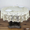 70 inch Ivory 10 Mil Thick Lace Vinyl Waterproof Tablecloth PVC Round Disposable Tablecloth