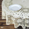70 inch Ivory 10 Mil Thick Lace Vinyl Waterproof Tablecloth PVC Round Disposable Tablecloth #whtbkgd
